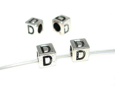 Metallperlen Buchstabe D 7x7mm, 2 Stück #U167 – Bild 1