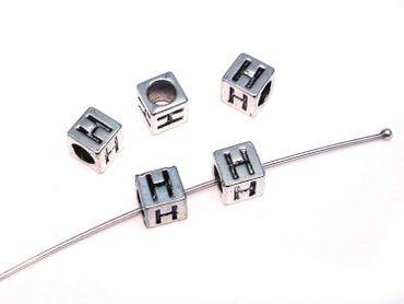 Metallperlen Buchstabe H 7x7mm, 2 Stück #U167 – Bild 1