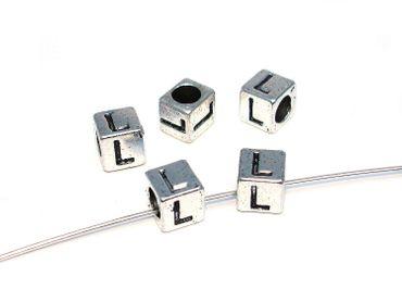 Metallperlen Buchstabe L 7x7mm, 2 Stück #U167 – Bild 1