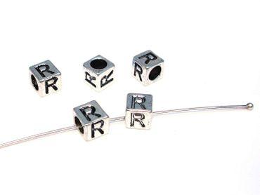 Metallperlen Buchstabe R 7x7mm, 2 Stück #U167 – Bild 1