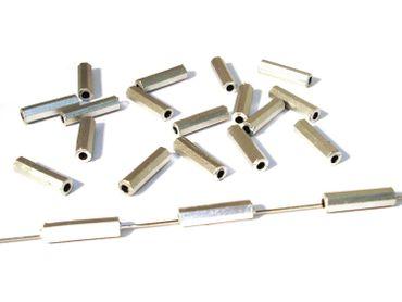Metallperlen, Röhren, Metalloptik, 12x3mm, matt Silber, 100 Stück #KK18