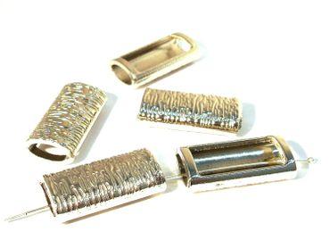 Schiebeperlen, Slide Charms, für Lederband, 30x15mm, Silber #U122 – Bild 1