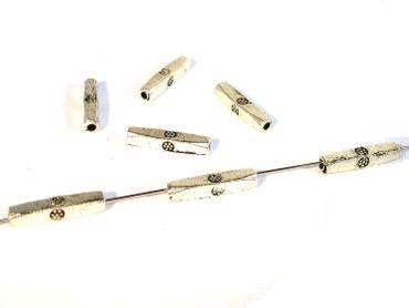 Metallperlen, Vierkant-Röhrchen 14x2mm, 10 Stück #U217