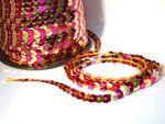 Paillettenband, Bauchtanz Deko, Hochzeit Karneval,2 farbig, Fuchsia / Gold, 5 Meter #S43