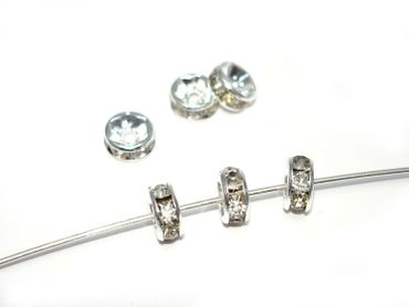 Strassrondelle, Silber / Crystal, 7mm, 5 Stück #Z91/1