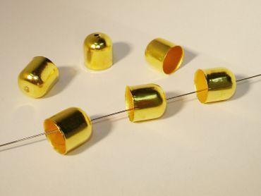 Endkappen Perlenkappen 11x10mm Gold, 4 Stück #Z87