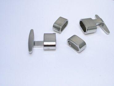 Steck Verschluss Clip Verschluss für Lederband, Silber #U111 – Bild 1