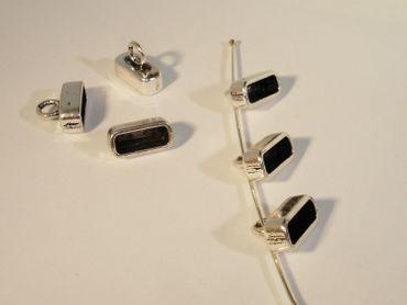 Endhülsen - Endkappen für Lederband Silber, 2 Stück #U210