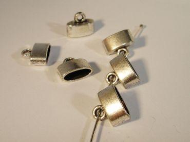 Endhülsen - Endkappen für Lederband Silber, 2 Stück #U211