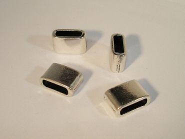 Endhülsen - Endkappen für Lederband Silber, 2 Stück #U212