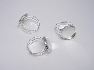 2 Ringrohlinge Fingerringe für Cabochon Klebstein, Silber #U104
