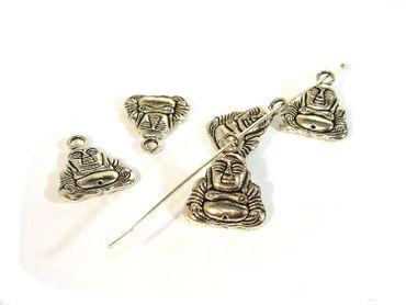 Charms Anhänger, Buddha, 14x10mm, Silber, 5 Stück #A04453
