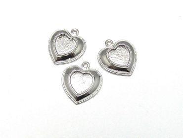 Anhänger Fassungen Rahmen für Cabochon, Herz, Silber 26 x23mm, 2 Stück #A05