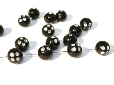 Acryl / Kunststoff, Perlen Strass, 8mm, Schwarz, 100 Stück #N16