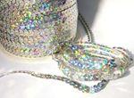 Paillettenband Holo, Bauchtanz Deko, Hochzeit Karneval, Silber 5 Meter #S38