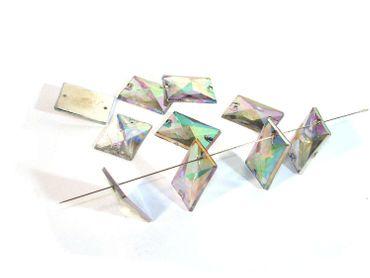 Facettierte Aufnähsteine 18x13mm, Kristall AB, 10 Stück #P116