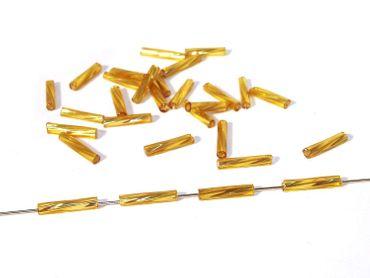 Glasstifte, twisted, 8x2mm, Gold verspiegelt, 10 Gramm ca 170 Stück #GL8