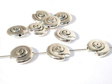 Metallperlen, Tibet, Spacer, Schnecke, 15mm, Silber, 2 Stück #UU93