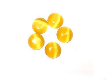 Cateye Cabochon Klebsteine 7mm Goldgelb, 6 Stück #A0204