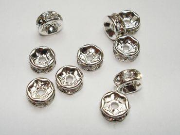 Strass Rondelle, 6mm, Silber - Kristall 5 Stück #Z95/1