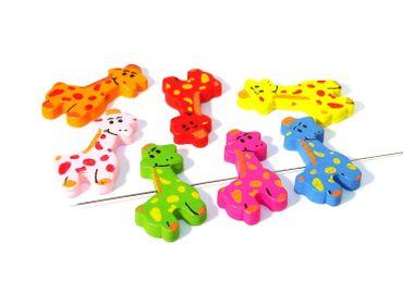 Motivperlen, Holzperlen, Kinderperlen Mix, Giraffe, 7 Stück #T22