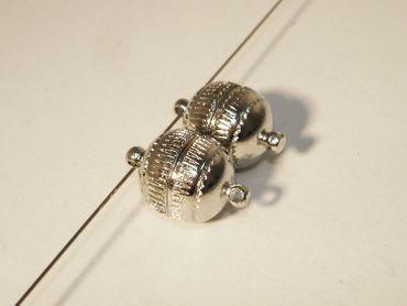 Power Magnetverschlüsse Kugel, 18x10mm, Silber, 2 Stück #U48