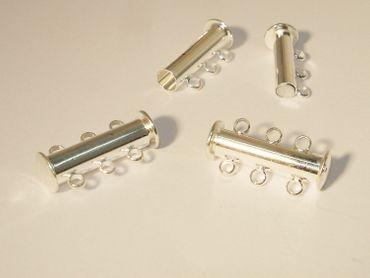 Magnetverschlüsse Verschluss für 3 Reihige Kette, Silber, 2 Stück #Z191