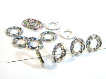 Facettierte Aufnähsteine Kristall AB, Ring, 15 Stück #P113