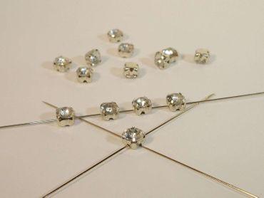 Aufnähsteine, Montees, facettiert, 5mm, kristall, 20 Stück #P2