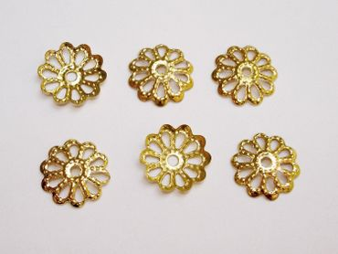 Filigrane Perlenkappen, Halblinsen, 8mm, Gold, 40 Stück #Z61 – Bild 1