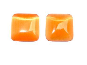 Cateye Cabochon Klebstein, Quadrat, 14mm Orange #A0251