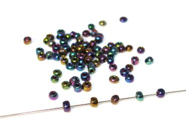 Rocailles Glasperlen, 7 / 0 - ca. 2mm, violett / rainbow, 20 Gramm #RC4 – Bild 1