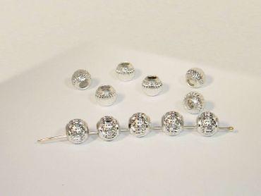 Aluperlen Metallperlen, Kugel, 10mm, Silber, 5 Stück #K323