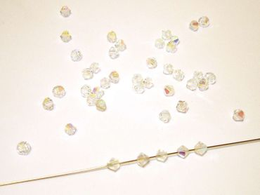 Swarovski® Perlen, 4mm Bicone, Kristall AB, 25 Stück #SW22-25 – Bild 1