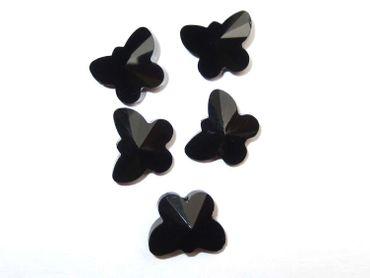 Facettierte Glasperlen, 15x12mm, Schmetterling, jet, 5 Stück #G237