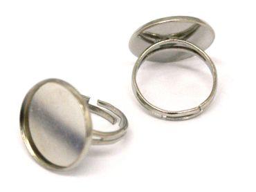Ringrohling Fingerring für Cabochon / Klebstein, Silber #U104/6