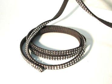 Wickelarmband, Kunstleder Strassoptik, grau, 5mm, 48 cm #ST7