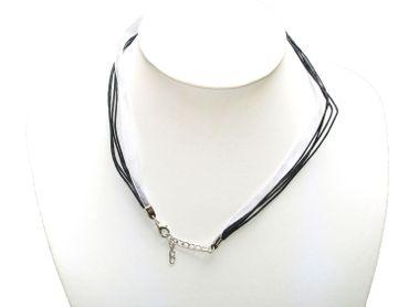 Halsband Organza Band Halskette Trachtenschmuck,Schwarz / Weiß, #OB6 – Bild 2