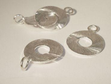 Ring Verschluss, gebürstet, 42mm, Silber #1015