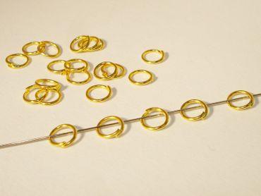 Biegeringe. Binderinge, Spaltringe, 6mm, Gold, 50 Stück #Z22