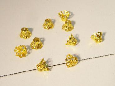 Filligrane Perlkappen, Kegel, Gold, 20 Stück #Z73/1
