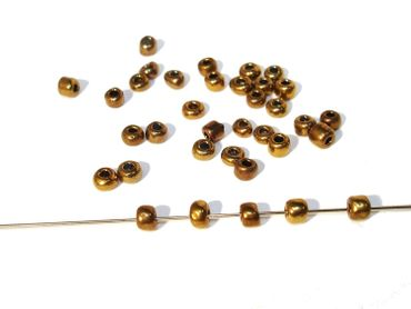 Rocailles Glasperlen, ca. 1,5mm, matt Gold, 20 Gramm #RC7 – Bild 1