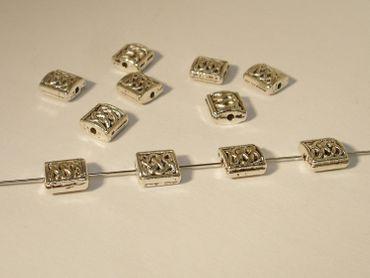 Metallperlen, Rechteck, 7x6mm, Silber, 10 Stück #U88