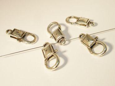 Karabiner Schmuck Verschluss, 27x13mm, Silber, 2 Stück #A02495 – Bild 1