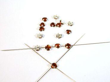 Facettierte Kristall Aufnähsteine 5mm, Braun, 100 Stück #P9