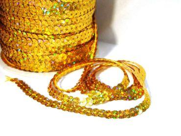 Paillettenband Holo, Bauchtanz Deko, Hochzeit Karneval, Gold 5 Meter #S37