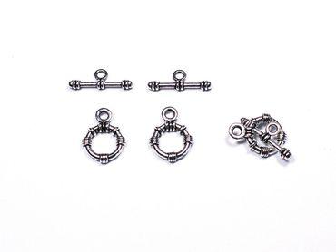 Verschluss, Knebelverschluss Toggle Bar, Silber, 3 Paar #A00446