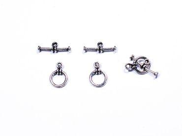 Verschluss, Knebelverschluss, Toggle Bar, Silber, 3 Paar #A00448