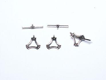 Verschluss, Knebelverschluss, Dreieck, 20mm Silber, 3 Paar #A00451