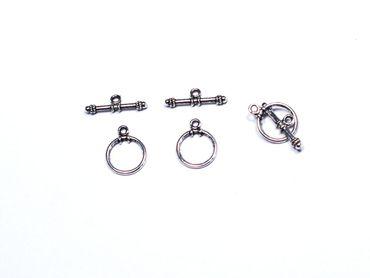 Verschluss, Knebelverschluss, rund 16x12mm Silber, 3 Paar #A00454